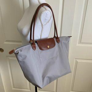 Longchamp Le Pilage Gray Tote Shoulder Bag Purse
